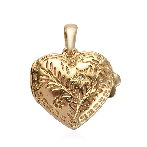 Diamond Accent Locket Heart Pendant