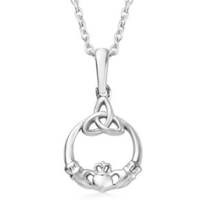 Claddagh Pendant Necklace 20 Inch in Platinum Over Sterling Silver 3.10 Grams