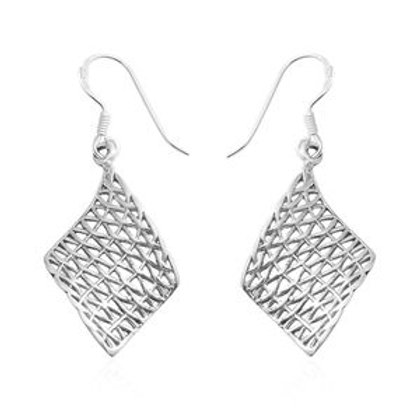 Sterling Silver Openwork Dangle Earrings (2.82 g)