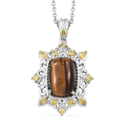 10.11 CTW South African Tigers Eye Pendant Necklace