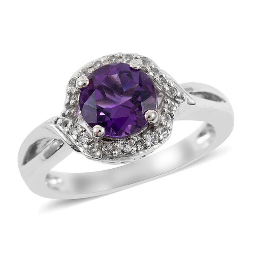 1.13 ctw Amethyst and White Topaz Ring in Sterling Silver (Size 7)
