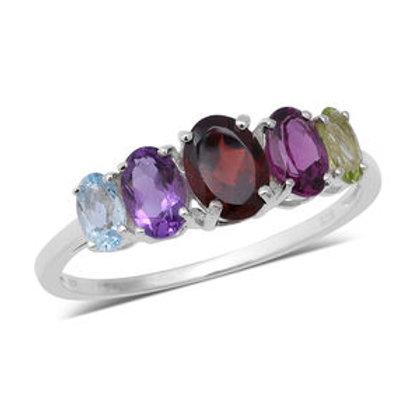 2.42 ctw Multi Gemstone 5 Stone Ring Size 5