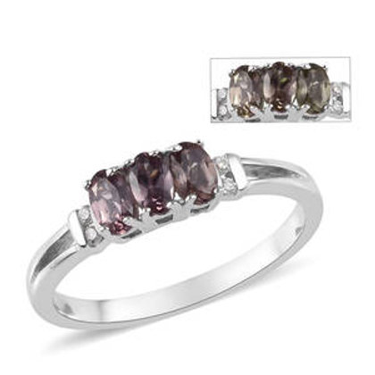 1.07 CTW Color Change Garnet and Zircon Ring in Platinum Over Sterling Silver