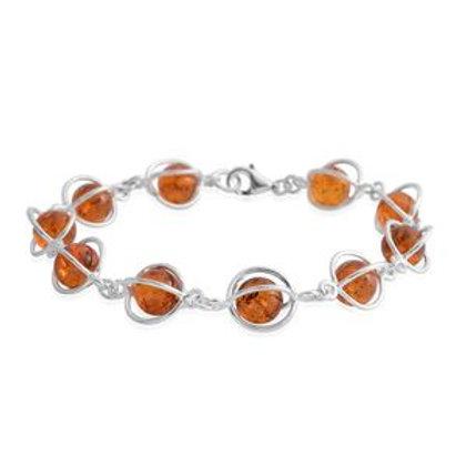 Baltic Amber Sterling Silver Caged Bracelet