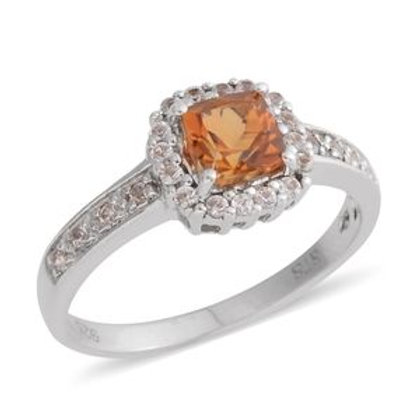 0.94 ctw Brazilian Citrine and White Sapphire Ring Size 7