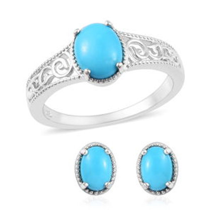 Arizona Sleeping Beauty Turquoise Stud Earrings and Ring (6, 8).  3.05 CTW