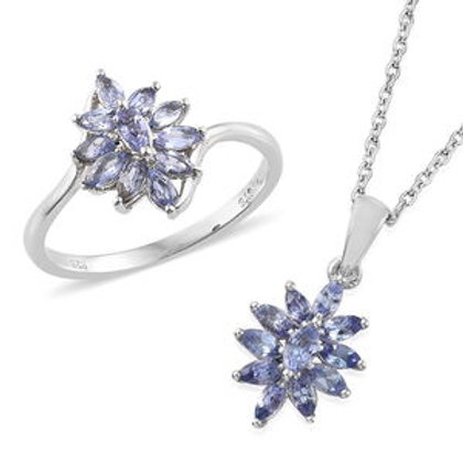 Tanzanite Pendant Necklace and Ring.  Size 5. 2.09 CTW