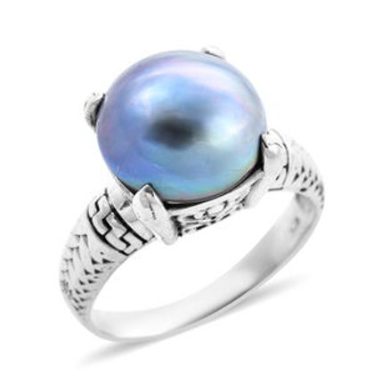 Bali Legacy Mabe Pearl - Blue Ring in Sterling Silver