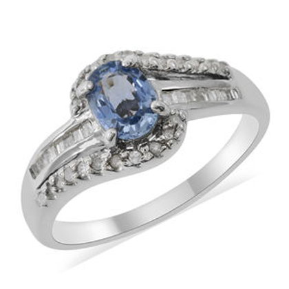 Ceylon Sapphire and Diamond Ring (9) in Platinum Over Sterling Silver.  1.21 CTW