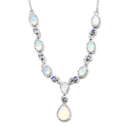 Welo Opal and Tanzanite Drop Necklace.  3.70 CTW.