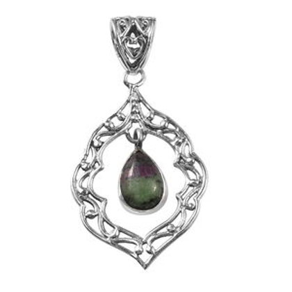 Artisan Crafted 3.45 ctw Ruby Zoisite Inner Drop Pendant