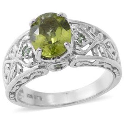 Peridot Ring with Tsavorite Garnet Accents.  Size 7.  3.15 CTW