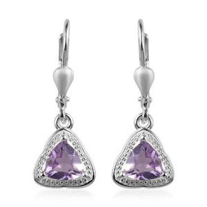 1.28  CTW Rose De France Amethyst Earrings in Sterling Silver