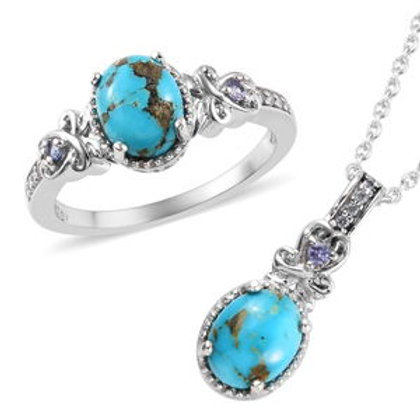 3.85 ctw South Hill Turquoise and Multi Gemstone Ring Size 7 and Necklac