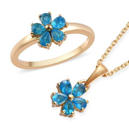 1.53 ctw Neon Apatite Floral Ring Size 9 and Pendant Necklace
