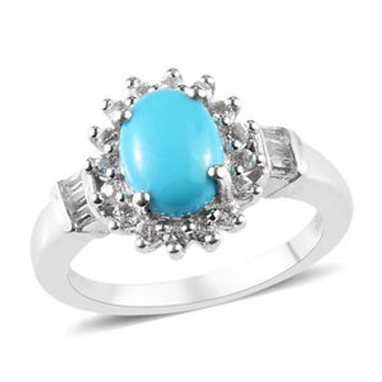 Arizona Sleeping Beauty Turquoise and White Topaz Ring.  Size 9, 1.45 CTW