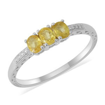 Yellow Sapphire Ring in Sterling Silver (Size 9.0) 0.66 ctw