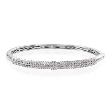 1.50 ctw Diamond Bangle Bracelet in Platinum Over Sterling Silver 7.25 Inch