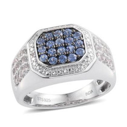 1.41 CTW Ceylon Blue Sapphire and White Sapphire Men's Ring Size12