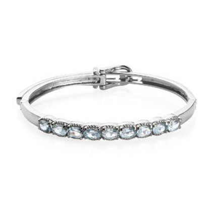 4.85 CTW Sky Blue Topaz Buckle Bangle Bracelet in Stainless Steel 7.25 Inch