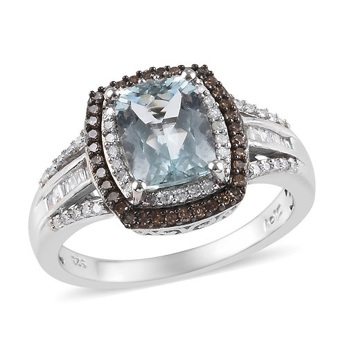 Aquamarine, Natural Champagne & White Diamond (.55 dcw) Ring in Rhodium & Platin
