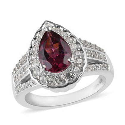 2.30 CTW Tanzanian Wine Garnet and Zircon Ring Size 8