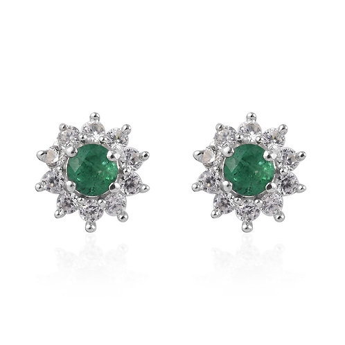 1.10 ctw Zambian Emerald and Natural White Zircon Stud Earrings