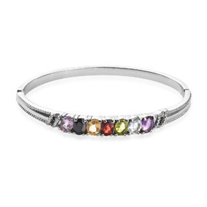 Multi Gemstone Bangle Bracelet in Stainless Steel.  5.70 CTW