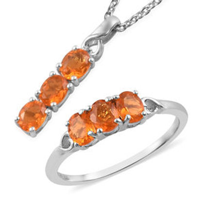 1.45 ctw Jalisco Fire Opal Ring Size 5 and Pendant Necklace 20 Inch