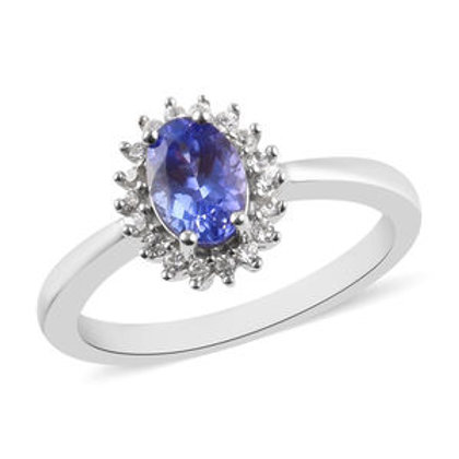 1 ctw Tanzanite and Zircon Ring (Size 6)