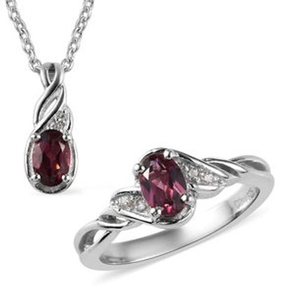 1.15 CTW Wine Garnet and Zircon Ring Size 7 and Pendant Necklace 20 Inch