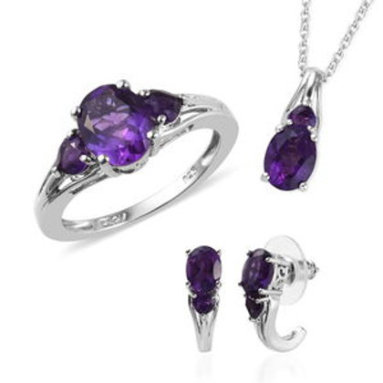 AA Premium Lusaka Amethyst Earrings, Ring (Size 11) and Pendant Necklace (20 in)