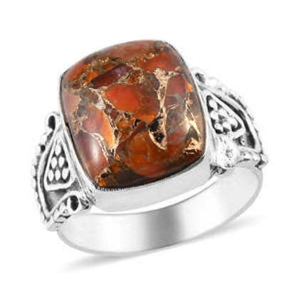 Artisan Crafted Matrix Fire Opal Ring.  Size 7.  4.05 CTW