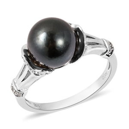 Stunning 0.45 CTW Tahitian Cultured Pearl 10-11mm and White Zircon Ring