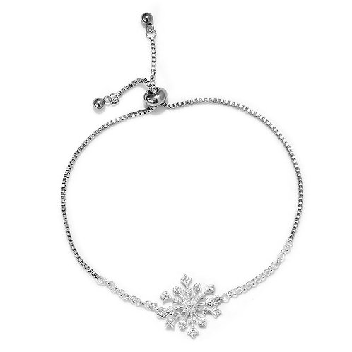 Snowflake Bolo Bracelet in Stainless Steel and Sterling Silver