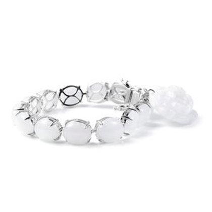 15.36 ctw Burmese White Jade Bracelet with Flower Charm (7.25 in)