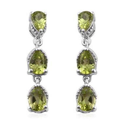 Peridot Trilogy Drop Earrings.  4.88 CTW