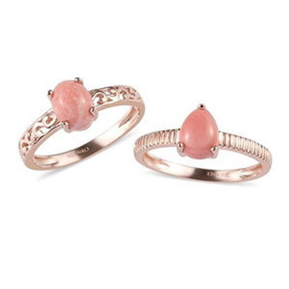 Oregon Peach Opal Stackable Rings.  1.70 CTW