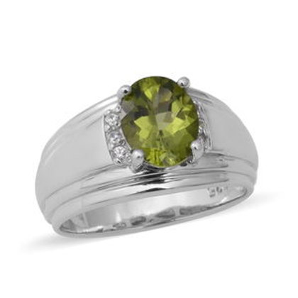 2.72 ctw Peridot and Natural White Zircon Men's Ring Size 12