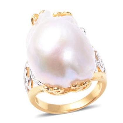 Organic Shape Baroque Pearl Openwork Ring Size 8