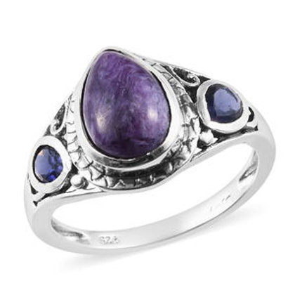 Natural Russian Charoite, Catalina Iolite Ring (8) in Sterling Silver.  5.50 CTW