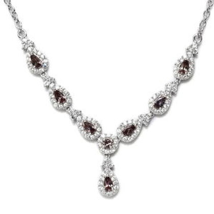 Color Change Garnet and Zircon Necklace 18 Inch.  4.85 CTW