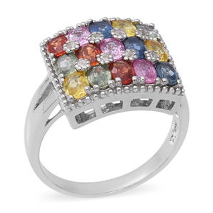 3.74 ctw Multi Sapphire and Natural White Zircon Ring