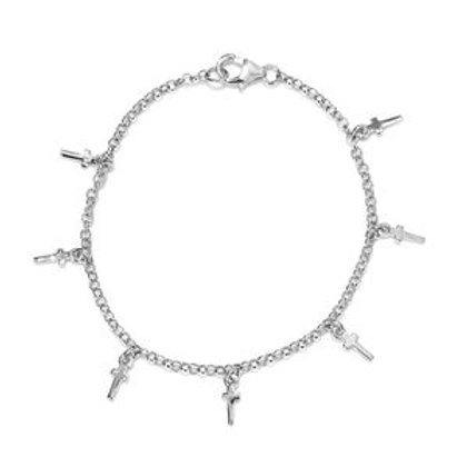 Cross Charm Bracelet in Platinum Over Sterling Silver 2 g