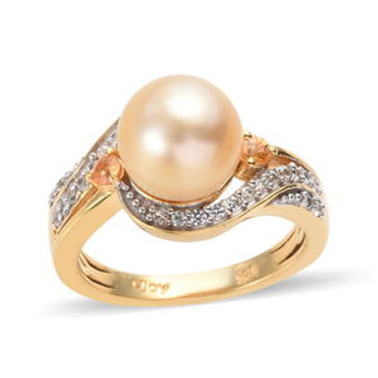 South Sea Golden Cultured Pearl 8-8.99 mm and Multi Gemstone Ring