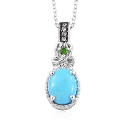 Arizona Sleeping Beauty Turquoise, Multi Gemstone Pendant Necklace.  1.76 CTW
