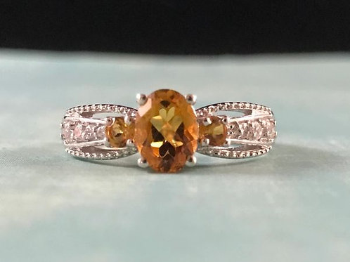 Serra Gaucha Citrine and Cambodian Zircon Ring (8).  1.51 CTW