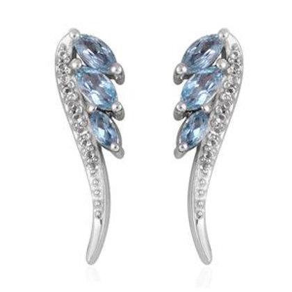 Swiss Blue Topaz, White Topaz Platinum Over Sterling Silver Earrings 3.74 CTW