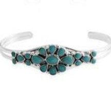 6.00 ctw Kingman Turquoise Cuff Bracelet in Sterling Silver 7 Inch