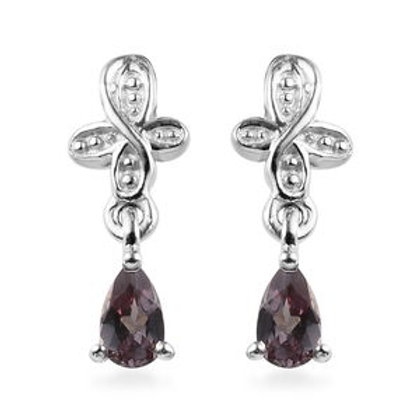 0.55 ctw AA Color Change Garnet Drop Earrings in Platinum Over Sterling Silver